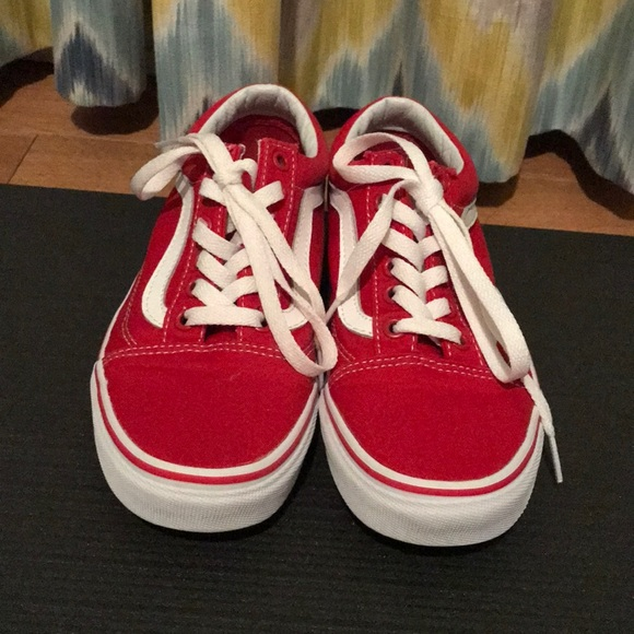 Vans Shoes | Red Canvas Old Skool Vans